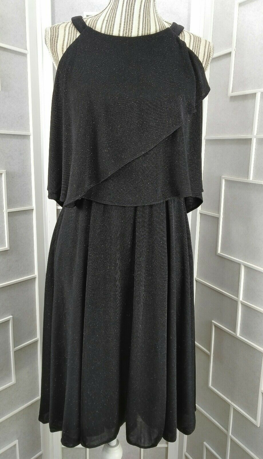 NWT Sz 10 MSK Circle Halter Tiered Bodice Sparkling Lined Knee Length Dress