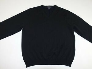 Brooks-Brothers-Men-039-s-V-Neck-Sweater-Size-Large-Black-Pullover-Merino-Wool-LS