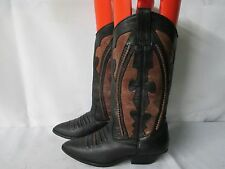 Circles Brand Spur Black Brown Leather Inlay Buck Stitch Cowboy Boots Size 7 M