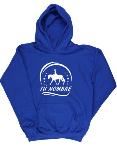 PERSONALISED Horse Riding kids unisex Hoodie hooded top