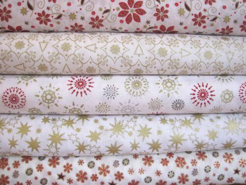 Festive Fat Quarter Bundle Christmas Roses Stars Snowflakes Xmas Tree Fabric F92