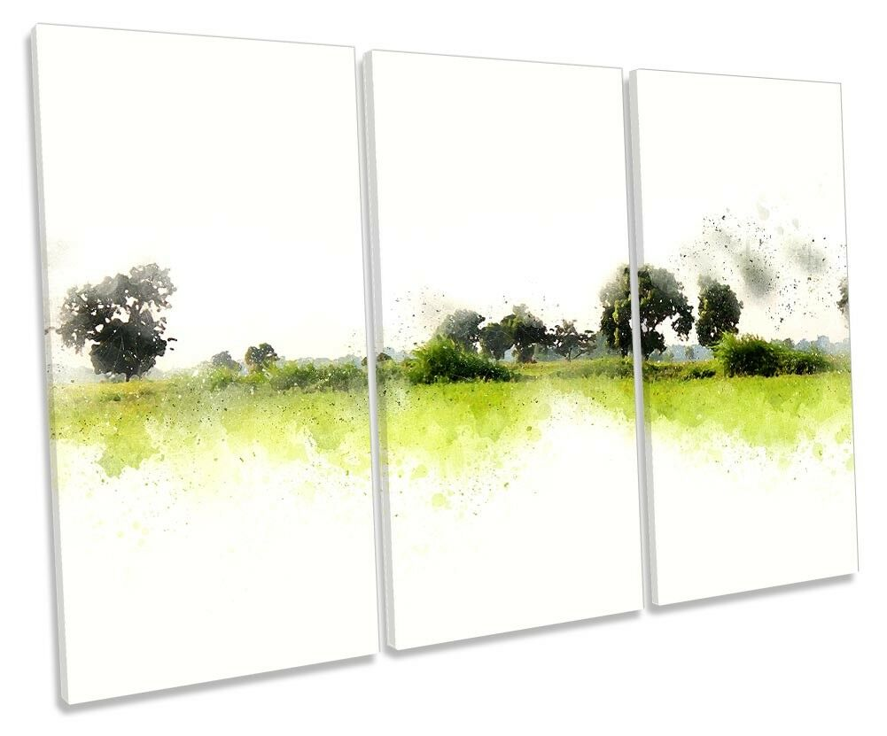 Grün Landscape Minimalist TREBLE CANVAS WALL ARTWORK Print Art