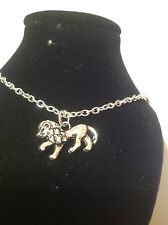 lion necklace 18 inch chain silver plated