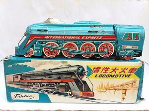 Nib Blue Tin Mf-804 Choo Choo Train International Express Friction Train 1960s Toys & Hobbies Friction
