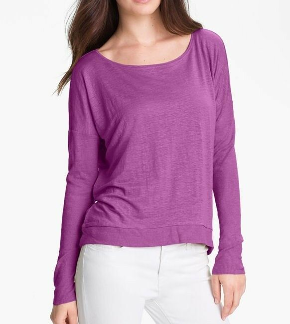 NWT EILEEN FISHER SWEET PLUM L S Bateau Neck Wedge Top SMALL BRAND NEW T2488M