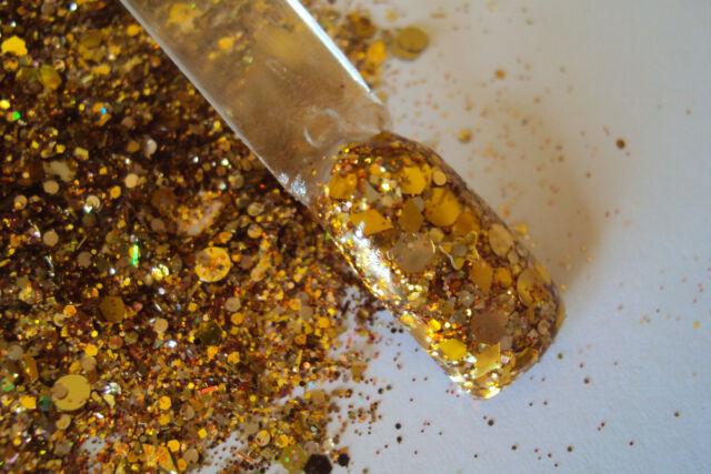 glitter mix nail art acrylic gel    THE MELTING POT  all gold mix