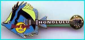 Hard-Rock-Cafe-Honolulu-1999-Poisson-Guitare-Series-1-Hrc-Pin-Bleu-Jaune-amp-Noir