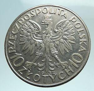 1932-POLAND-Queen-Jadwiga-amp-Eagle-Polish-Antique-Silver-10-Zlotych-Coin-i79807