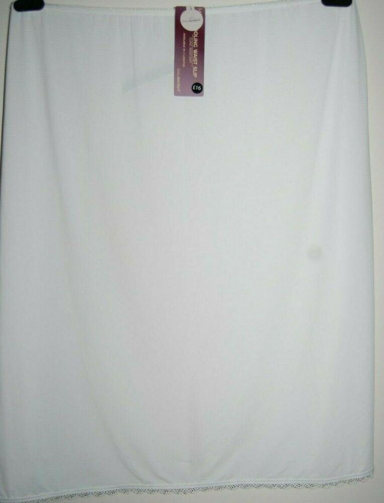 M&s Cool Confort Adhérence Résistant à La Taille Slip Blanc Uk 24 Longueur 26 Bnwt