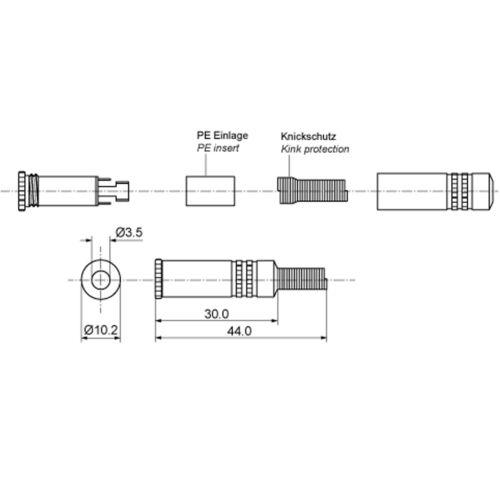 5 x enchufes embrague 122 estéreo lötversion audio 3,5 mm soldadura metal manija
