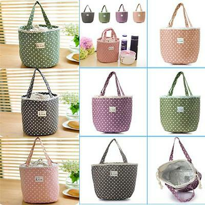 Cute Thermal Picnic Polka Dot Lunch Waterproof Insulated Cooler Bag Organizer