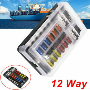 NEW 12 Way Blade Fuse Box Auto Block Holder LED Indicator Kit 12V for Car Boat