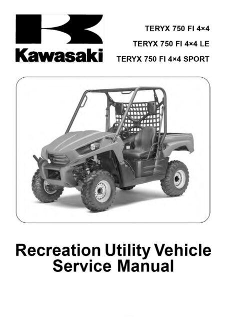 new kawasaki teryx 750 repair service manual atv 2010 2011 free rh m ebay com 2009 Kawasaki Teryx 2010 kawasaki teryx 750 service manual