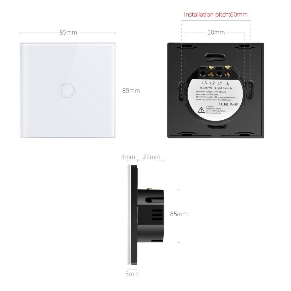 Smart 1/2/3 Gang EU Panel Glass Touch LED Light Switch Wifi,Remote,Dimmer Switch 4