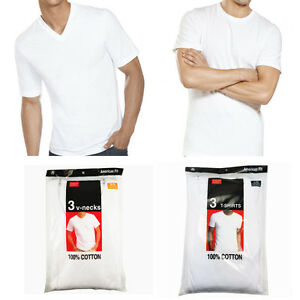 New-3-6-Pack-For-Men-039-s-100-Cotton-Tagless-T-Shirt-Undershirt-Tee-White-S-XL