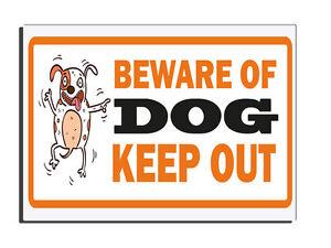 Beware Of The Dog Keep Out Orange Warning Gate Fence