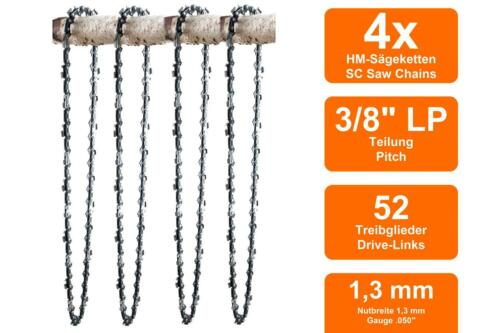 4 Chaînes adapté pour Stihl MS211 C-BE35cm 3//8LP 52TG 1,3mm
