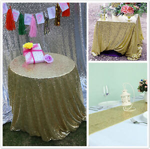 70cb01e96534f Image is loading Light-Gold-Sequin-Table-Cloth-Shimmer-Sparkly-Overlays-
