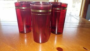 Vintage Ruby Red Tumblers Glasses Gold trim 7 10 oz flat bottom 1960