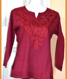 Embroidered-Cotton-Tunic-Top-Kurti-Blouse-in-Burgundy-Color-from-India-S-and-XL