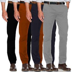 Details About Mens Chino Summer 100 Cotton Regular Straight Leg Pants Trouser Active Waist
