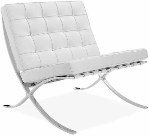 Barcelona Style Lounge Chair and Ottoman Genuine Leather White