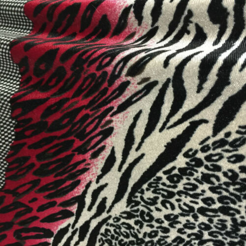 "Red Black animal print 58/"" velvet velor  two way stretch fabric M16-20 Mtex"
