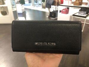 d90376a175e6 NWT Michael Kors Jet Set Travel Carryall Flap wallet Pebble Leather ...