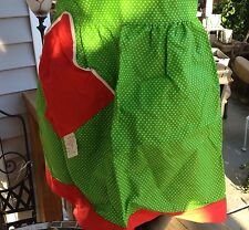 VINTAGE 1960'S ERA NEW WITH TAGS WATERMELON GREEN  AND RED POLKA DOT HALF APRON