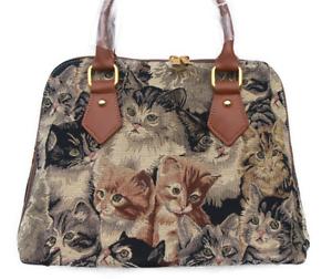 Katzen-Henkeltasche-Damen-Umhaengetasche-Gobelin-Kaetzchen-Tapestry