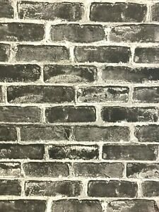 10M CHARCOAL BRICK WALLPAPER FEATURE WALL ART TEXTURED PVC ...