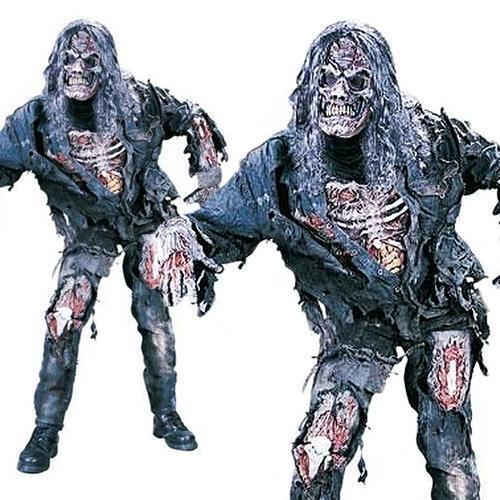 Mask Halloween Fancy Dress Undead Horror Mens Costume Scary Complete Zombie