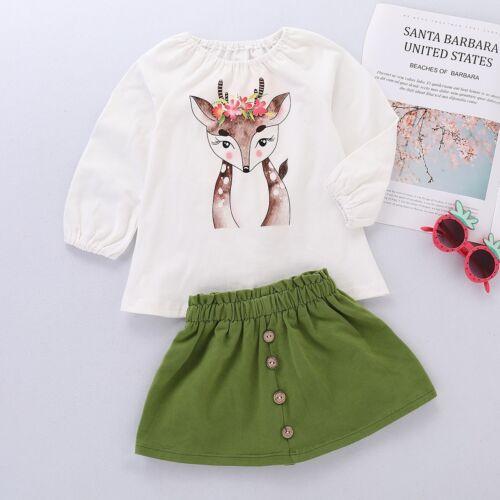 Cute Baby Girl Toddler Xmas Deer Cartoon Print Long Sleeve Tops+Skirt Outfit Set