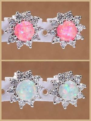 White / Pink Fire Opal & Zircon Women Jewelry Gems Silver Stud Earrings LE142-43
