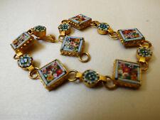 "VTG Italian Micro Mosaic Multi color Links Bracelet made in Italy signed 7.25""L"
