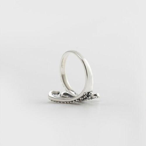 Damen Ring Krake Tentakel echt Sterling Silber 925 verstellbar Antik Optik offen