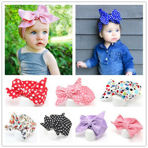 Baby Cotton Big Bow Tie Head Wrap Turban Top Knot Headband Newborn ... 7f236c50bcd