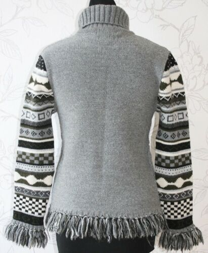 cable Komwok 12 Sweater Knitted Fringed French uk10 S neck Polo Jumper Wool Grey wX8pxXq1