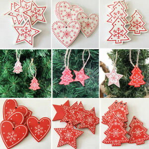 Hanging Christmas Decorations To Make.Details About 24pcs Wooden Christmas Tree Hangers Hanging Decorations Diy Xmas Pendants Gift P