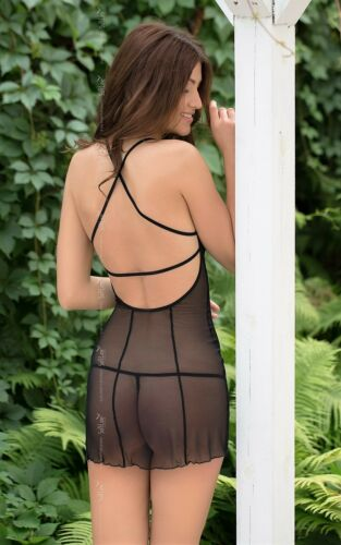 Lingerie de Robe en Backless Sexy dentelle Softline Sonia transparente Chaud nuit noire EqwHUnBI