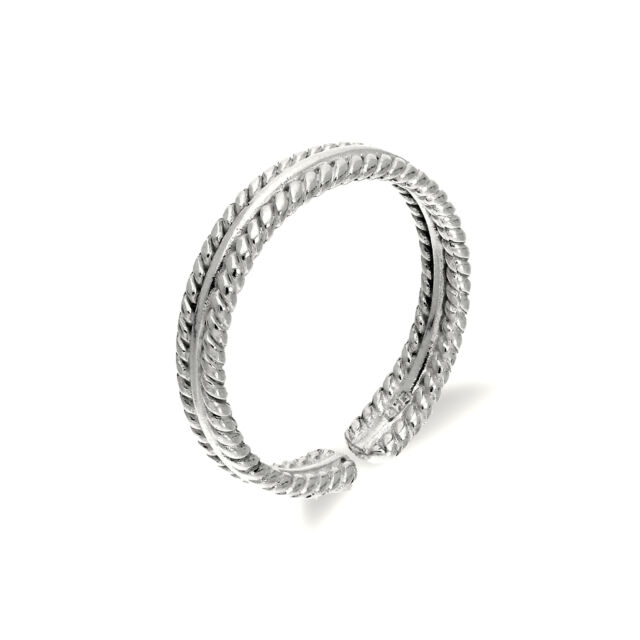 925 Real Sterling Silver Adjustable Ribbed Midi Toe Ring Simple Rings Body Jewel