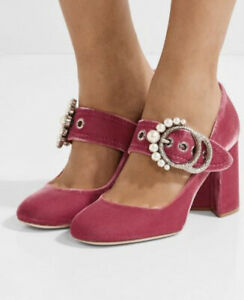 Mui-Mui-Pink-Velvet-Shoes-New