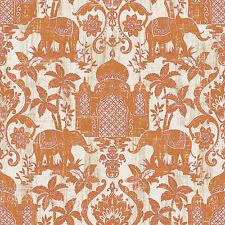 G67359 - Indo Chic Elephant Taj Mahal Orange White Galerie Wallpaper
