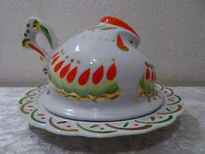 Porcelana-Butterhuhn-Quesera-Union-Sovietica-Rusia-Vintage-Pintado-a-Mano