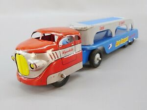 VIntage-Wyandotte-Auto-Transport-Semi-Truck-Car-Hauler-Pressed-Steel-Toy-Vehicle