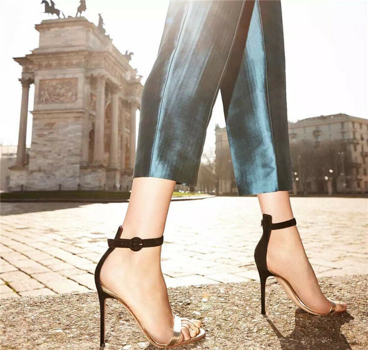 Women's Ankle Strap Sexy High Heels Open Toe Suede Stiletto Buckle Club shoes