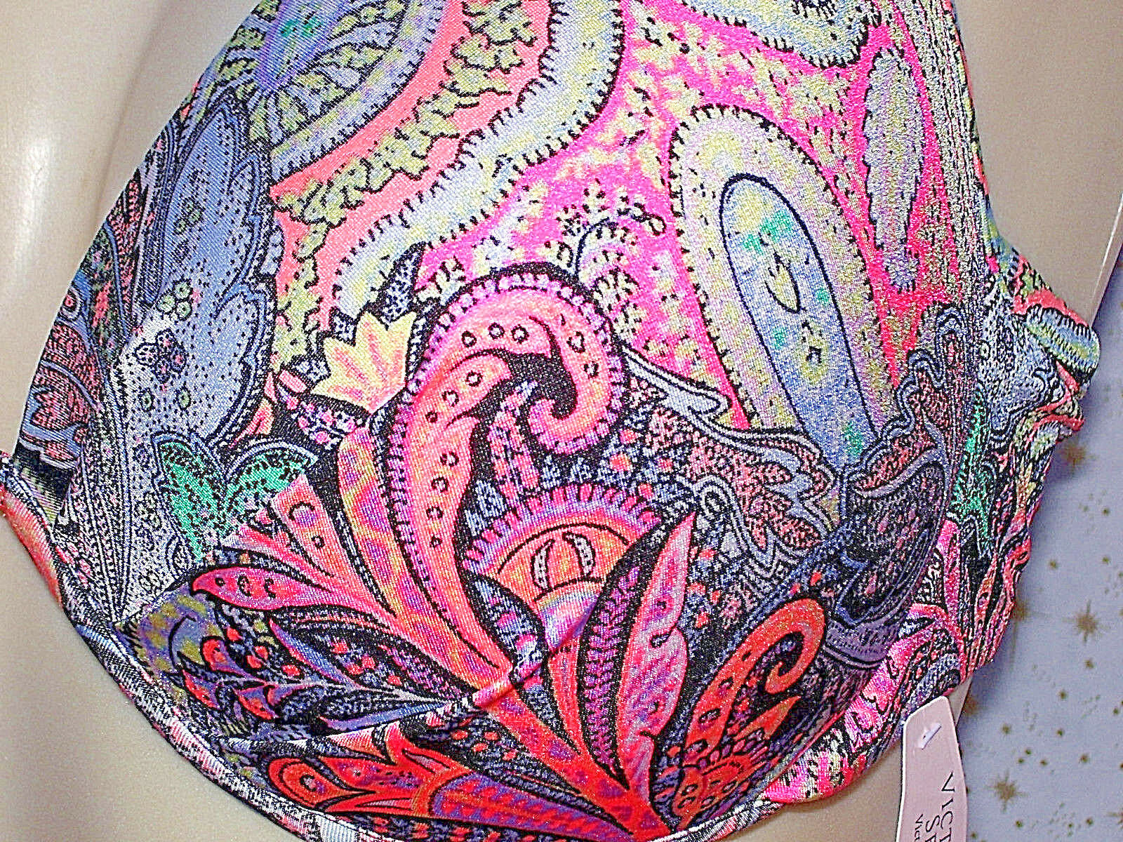 Victoria's Secret PAISLEY Bikini The Fabulous SWIM SWIM SWIM Top 36DD Padded New w Tag VS 783dd3