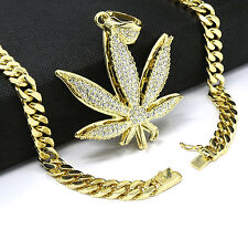 "Mens 14k Gold Plated 30"" Heavy Thick Cut Cuban Chain Marijuana Pendant Necklace"
