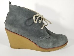 4876c85fbd2 Sperry Top Sider Harlow Wedge Gray Suede Leather Booties Women s ...