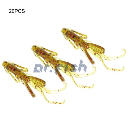 Lot 20 Crawfish Bait Ice Fishing Lure Soft Worm Silicone Trout 3cm Yoshikawa